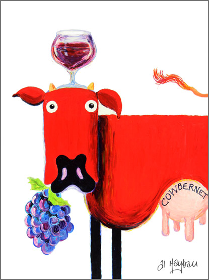 red wine cow, cabernet, shiraz,