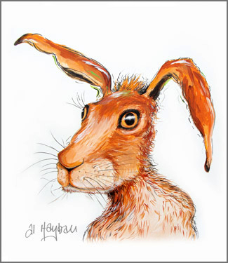 astonished hare painting,