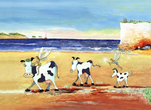 cows on a beach