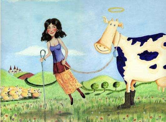 'floating milk maid with cow' by al hayball