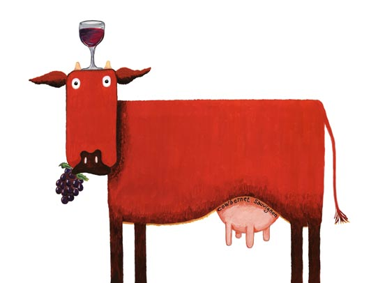 Red cow, red wine cow, cowbernet or cabernet cow,